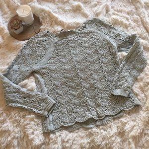 Loft patterned open knit light blue sweater